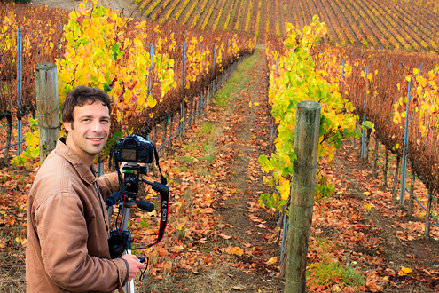 Pessagno Vineyard Workshops - participant photographing fall colors in the vineyard