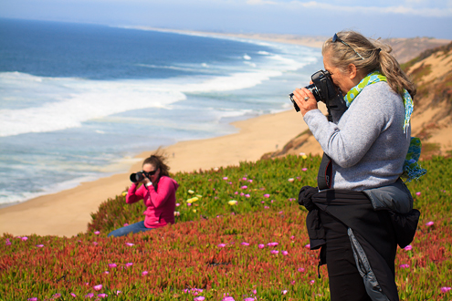 Students photographing a Fort Ord Dunes