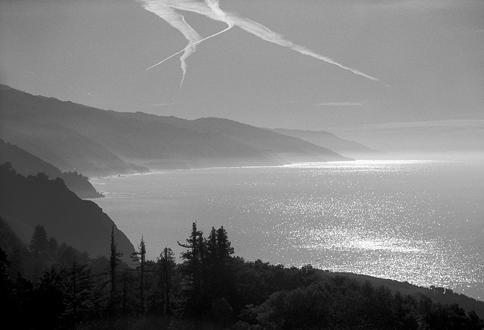 Black and white coastal scene