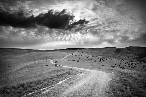 An ascending dirt road winds up the hills of the southern side of Fort Ord as the sun sets through an incoming storm. This photo was featured on the cover of the Arts Council for Monterey County's 2013 calendar.