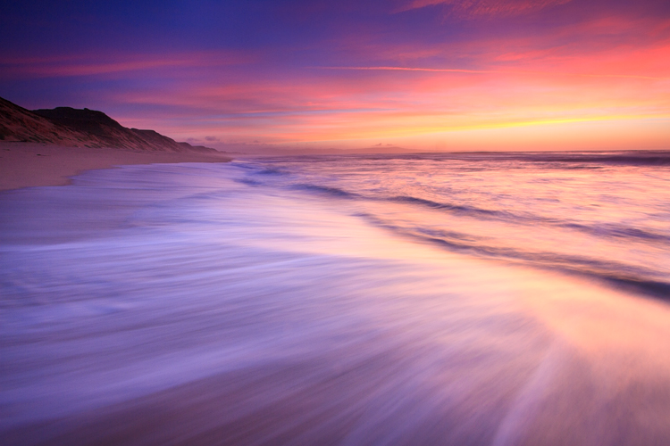 Long Exposure, Ocean at sunset.