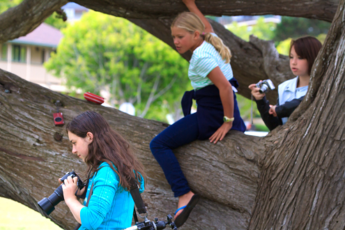Three girls at the Lyceum Photo Camp playing in a tree.