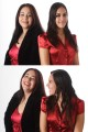 2 photos of 2 sisters, each photo has them with different expressions.