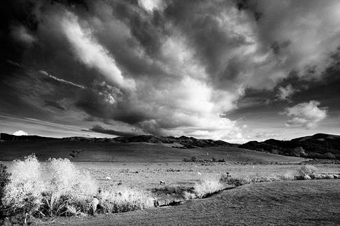 A storm passes over the Gabilan Mountains dappling the grassy hills with sunlight along the San Juan Grade that connects Salinas with Hollister. This photo was exhibited at the National Steinbeck Center in Salinas.