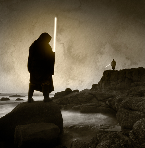 Shadowy figures armed with lightsabers facing off on coastal rocks.