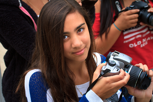 Portrait of dark haired girl at a Lyceum Photo Camp.