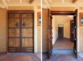 Side-by-side photos of the same exterior door open and closed.