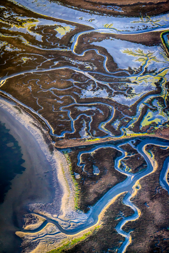 A network of blue waterways winds through a green and brown landscape.