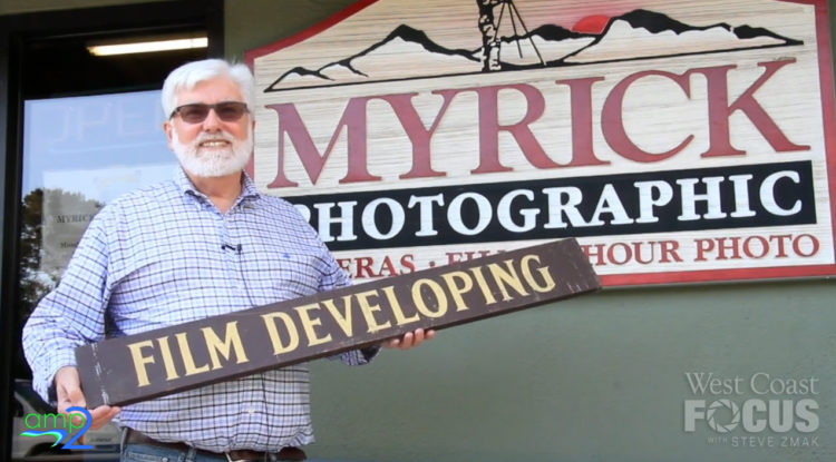 Stephen Myrick in front of his store, Myrick Photographic in Monterey.