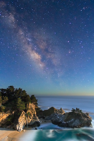 The Milky Way rises over the Pacific Ocean and McWay Falls along the Big Sur Coast on a summer night.