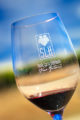 SLH Pinot Noir in a Santa Lucia Highlands Wine Artisans logo wine glass with an out-of-focus vineyard and blue sky in the background.