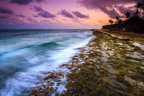 Emerald green waves wash across tide pools on a bar of lava rock along the eastern shore of Kauai as the winter sun sets to the north over resort hotels and palm trees.