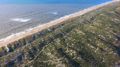 Drone photo of sand dunes and the beach with trails winding through.
