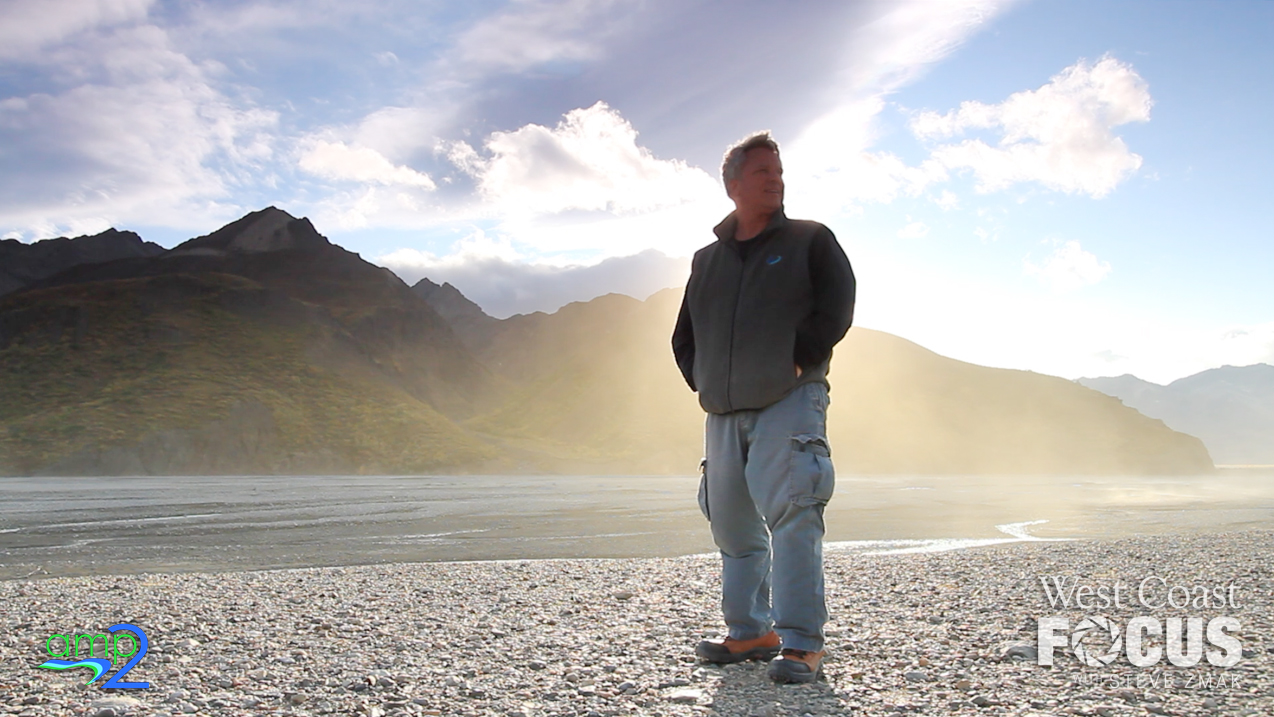 TV host filming his show in the Alaskan wilderness.