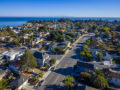 Drone photo of a West Santa Cruz neighborhood looking out over the Monterey Bay.